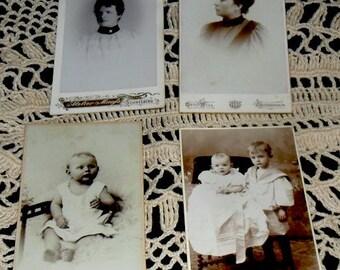 SUNDAY SALE***4 Antique German CDV Photos~Victorian Fashion~Childrens Photos~Cabinet Card Photos~