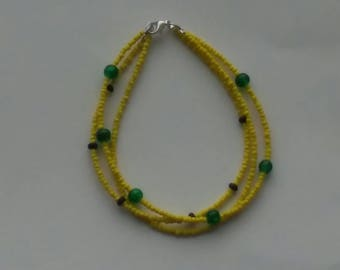 Beaded three chain seed bead bracelet