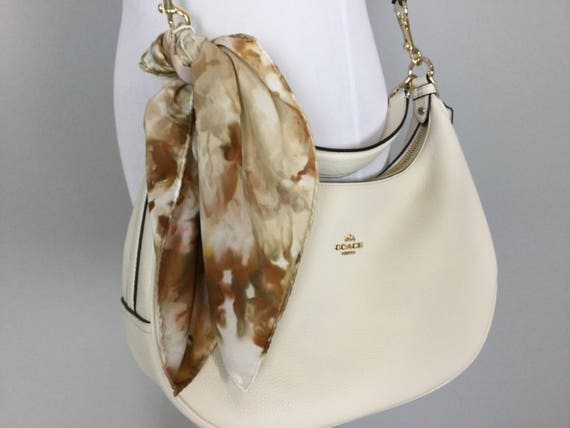 """Fall Accessories Brown & Gold Purse Scarf, 100% Silk, Hand Dyed Ice Dye Artistic Purse Scarves 17"""""""