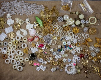 Large 350 Piece Found Object Supplies - Jewelry Salvage Stash - Mixed Media Assemblage Supplies - Vintage Destash Lot - Curated Supplies