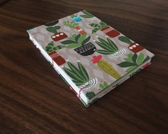 Small Open Spine Coptic Stitch Sketchbook/Journal with Plant Pattern