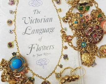 Joan Rivers complete Victorian language of flowers charm necklace