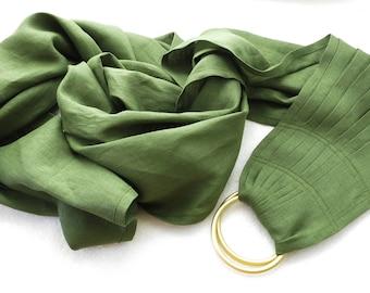 Linen Ring Sling / Pure Linen Baby Ring Sling/Dark green rings sling/Green Sling with rings