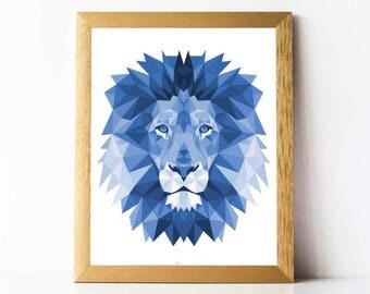 Polygon Lion Wall Art PRINTABLE | Geometric Lion Print Wall Art Poster | DIGITAL DOWNLOAD Lion Print Polygon Animals Wall Art Blue Geometric