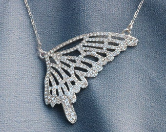 Stunning Signed Traci Lynn Crystal Butterfly Wing Necklace