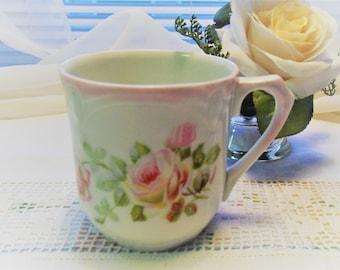 Antique Bavarian Mug (Shaving Mug?) White Embossed Cup Pink Roses Signed Clairon