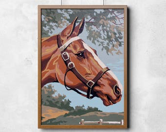 Paint by Number Poster: Beautiful Brown Horse in Bridle