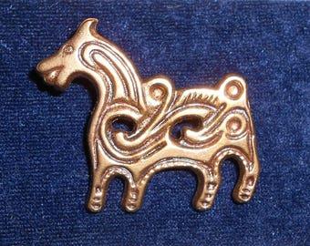 Vintage Finnish Bronze Horse Brooch, Kalevala Koru, Modernist Scandinavian Jewellery