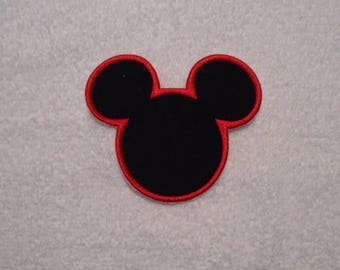 Black and Red Mickey Mouse Iron on Applique Patch