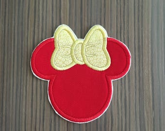 Red and Yellow Minnie Mouse Iron on Applique Patch