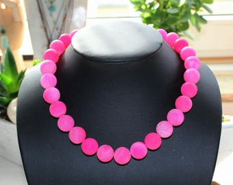 Necklace, neck jewellery, agate, crack agate, pink beads, beads pink, length 46 cm