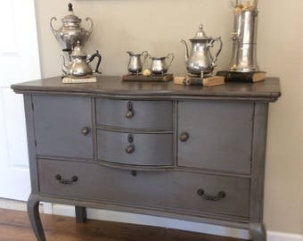 Gray Buffet and Sideboard. Buffet Table. Entry Table. Antique Buffet. Wine Bar Cabinet. Entry Table. Bathroom Cabinet with Bow Front Drawers