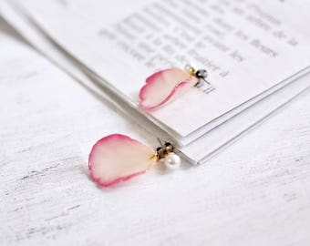 White Pink Rose petals Earrings With Pearl [Pierced or Clip-on]