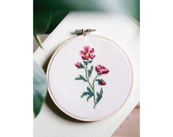 Unique - drum - flowers Herbarium No.16 - embroidery - cross stitch June B. Kitsch - JBK
