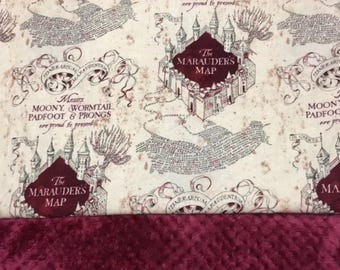 MARAUDER's MAP - Minky Blanket - Baby -Crib - Blanket - Pillow - Harry Potter - Map - Fan - Comfy - Soft  - Shower - Gift - Minky - Geek