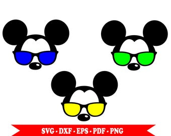 Mickey Mouse with SVG sunglasses, head face, clip art in SVG digital format, EPS, DXF, PNG, PDF. For Cricut, cameo Silhouette, embroidery