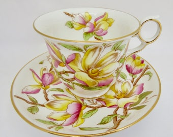 "Royal Chelsea English Bone China Footed Teacup and Saucer ""Magnolia"" Pattern 4340"