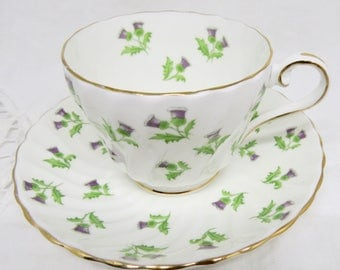 Aynsley Purple Thistles Pattern 15287 Bone China Footed Teacup and Saucer Birthday/Housewarming/Scottish Gift