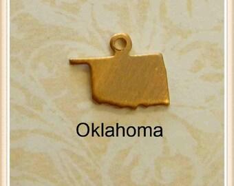 Oklahoma  BLANK  12 pcs raw brass state charm OK