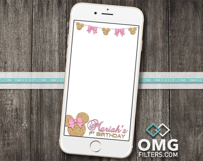Pink & Gold Mouse Party 3 - Custom Snapchat Filter - Any Age! Any Wording!