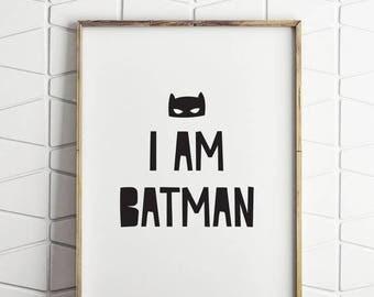 70% OFF SALE i am batman printable decor, batman wall decor, printable batman art, batman wall art, batman room decor, batman download