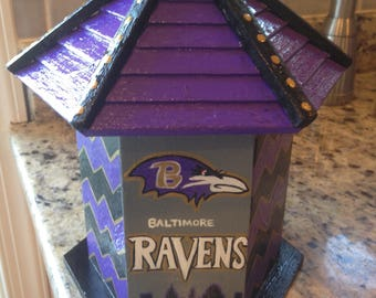 Hand painted Raven's birdhouse