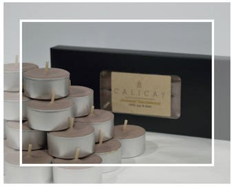 Hand Poured Soy and Beeswax Blend Tealight Candles (Tealights) - Ambered Sandalwood