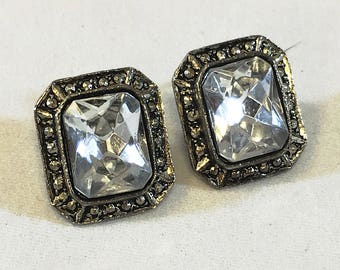Vintage large stone earrings, converted clip on statement earrings