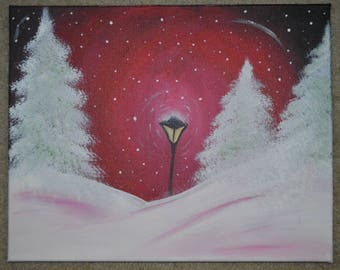 Lamp in starry winter night acrylic