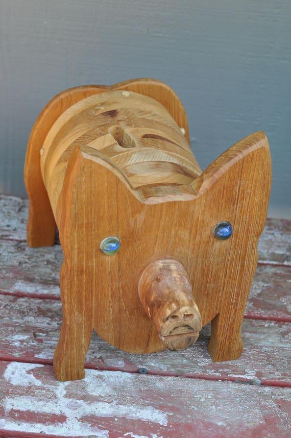 Piggy bank folk art wood handmade coin saving paper money for Handmade coin bank
