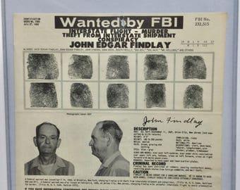 Vintage FBI, Vintage Crime, Vintage Law Enforcement, Mug Shot, Wanted Poster, Vintage Prison, Vintage Decor, Crime Memorabilia