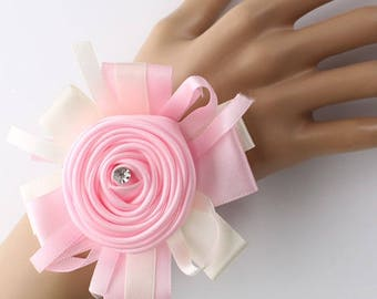 Handmade Rhinestone Girl Bridesmaid Sisters Wedding Wrist Corsage Party Prom Hand Flower Ribbon Bridal Flower Prom more Colors Available