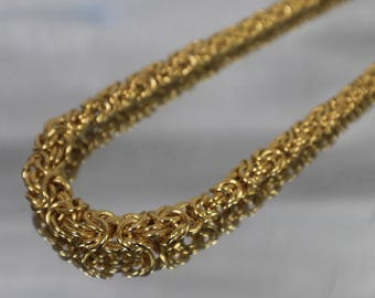 925 - Gold Plated over Sterling Silver Ascending Byzantine Link Chain Necklace