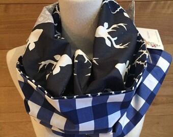 Foulard infini patchwork cerf à carreaux