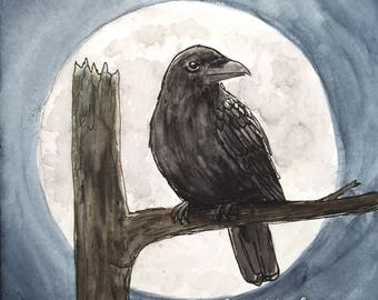 The moonlight raven postcard
