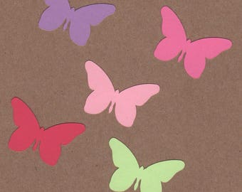 50 - 1 inch tall Butterfly Die Cuts for Paper Crafts Butterfly Wings Colors Set 14