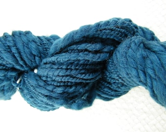 Handspun Yarn - Super Bulky - Thick and Thin Weight - Sapphire Blue - Merino - Handmade - Canadian #805