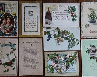 9 Nice Antique Christmas Greetings Post Cards Arts & Crafts Movement  Art Deco Victorian 1910s Embossed Die Cut Vintage Ephemera Lot