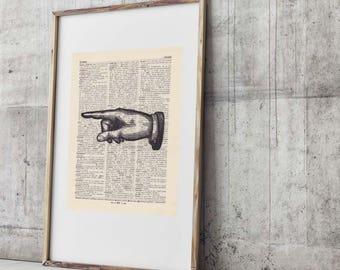 Pressure TO THE LEFT - antique book page - portrait