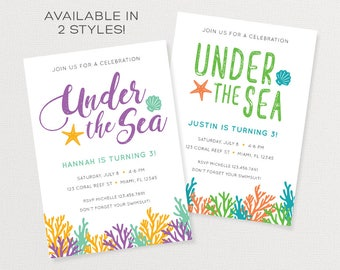 Under the Sea Party Invitation | Girl or Boy Ocean Party Invitation | Customized Printable Invitation