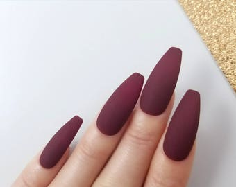 Matte burgundy Press on nails - Hand painted with gel for the best quality available - Stiletto Coffin Almond Oval Round - Long Medium Short