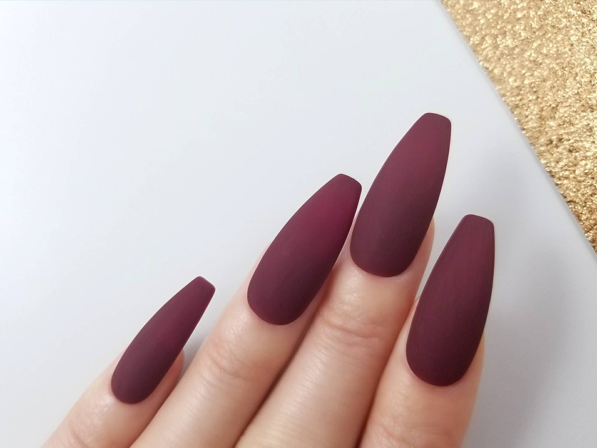 matte burgundy press on nails hand painted with gel for the. Black Bedroom Furniture Sets. Home Design Ideas