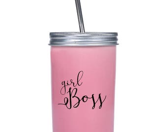 Girl Boss Travel Tumbler - Pink Tumbler - Mason Jar Tumbler - 20 Oz Tumbler - Novelty Gift - To Go Cup - Tumbler With Straw - Gifts For Her