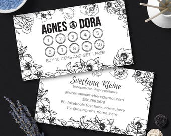 Agnes and Dora Punch Cards, Free Personalized, Floral Agnes & Dora Loyalty Cards, Buy 10 Get 1 Free Card, Agnes Stamp Cards