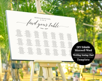 Seating Chart, Wedding Seating Chart Poster, Printable Wedding Seating Chart Sign Template, MSW50