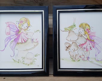 "Fairy Watercolour Wall Art,8""x10"",Original Painting, Set of 2, Pink/Purple Nursery Art,Fairy Wall Art,Kids decor,Girl Bedroom Decor,Fairies"