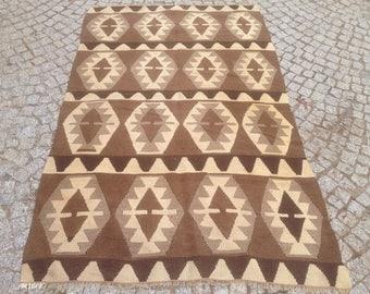 Turkish Kilim rug, Bohemian Rug, vintage rug, turkish Kilim, Turkish Rug, handwoven rugs, vintage kilim rug, Small Kilim Rug 3.5 x 4.5