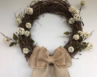 Fall, Burlap, Floral, Multiple Size, Grapevine Wreath