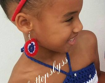 Girls' Crochet Earrings (red, white & blue)