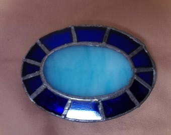 Blue Stained Glass Belt Buckle